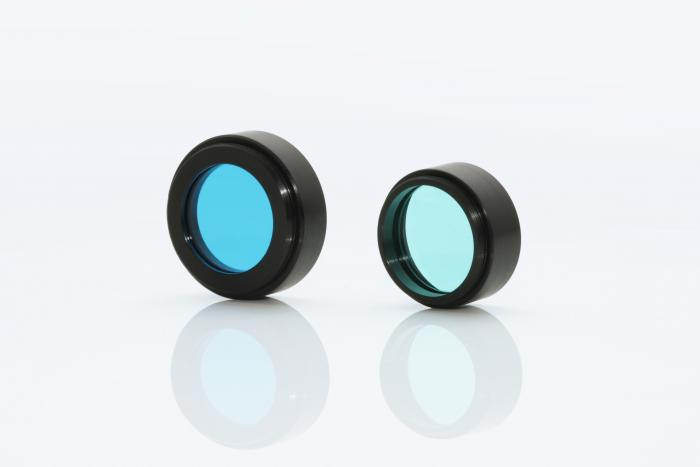 Mounted colour flass filters